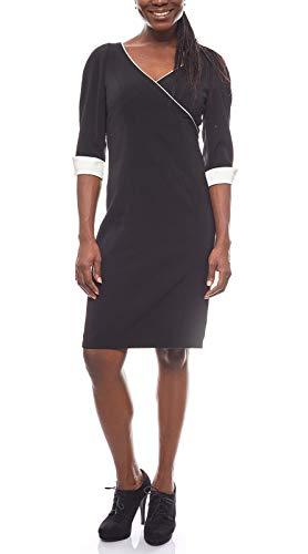 Patrizia DINI Kleid Etuikleid in Wickeloptik mit Gehschlitz 3/4 Arm Schwarz, Größenauswahl:36