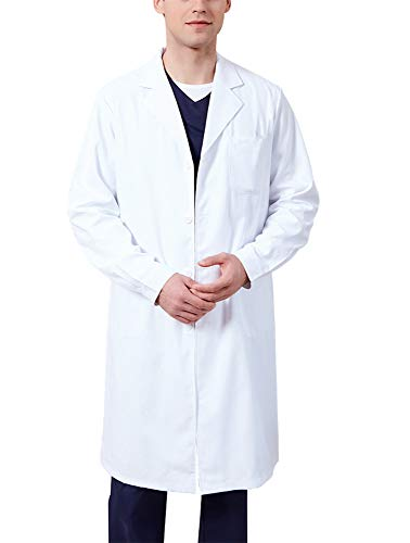 Memoryee Bata de Laboratorio Profesional Hombres Blusa Blanca Ropa de Trabajo y Uniformes Enfermera médica Doctor/Delgado/2XL