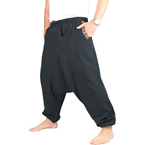 Nitya Design - Pantaloni Harem da donna e uomo, con motivo etnico, in cotone, disponibile in diversi colori S-XXL Nero M-L