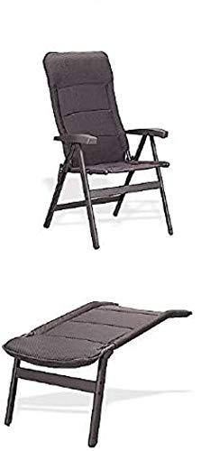 Chaise de camping en aluminium Avangarde avec pieds - Chaise longue - Charge maximale : 150 kg - Couleur : gris charbon - Poids : 4,6 kg seulement - Produit Stabilo ® - Système de protection solaire mobile - Innovation Holly sunshade® - fabriqué en Allemagne - Quantité limitée et seulement dans la limite des stocks.