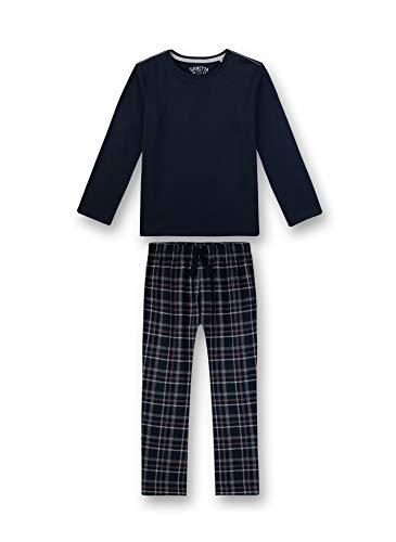 Sanetta Jungen Pyjama lang Zweiteiliger Schlafanzug, Blau (blau 5961), (Herstellergröße:140)
