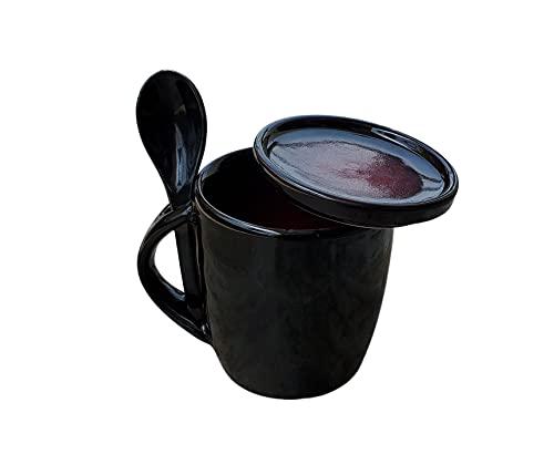 Pure Source India Ceramic Tea Cup / Milk Mug with Spoon and Lid - 1 Set, Black, 320 Ml