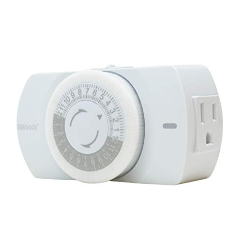 Woods 50103WD Indoor 24-Hour Heavy Duty Mechanical Timer, 1 Grounded Outlet, Standard Body