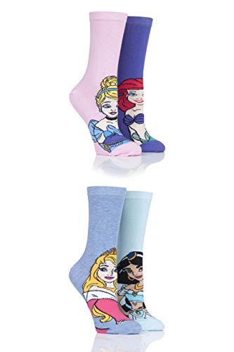 SOCKSHOP Damen Disney Prinzessinnen Sleeping Beauty, Cinderella, Jasmine & Ariel Socken Packung mit 4 Gemischt 37-42