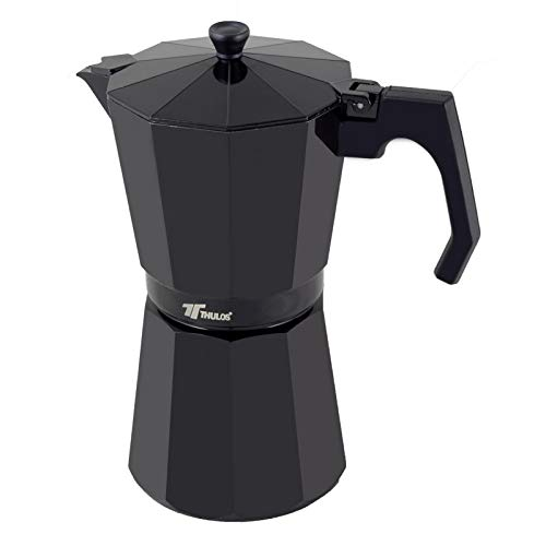 Thulos Cafetera clásica de Color Negro, Varias capacidades: 6, 9 y 12 Tazas (6 Tazas)