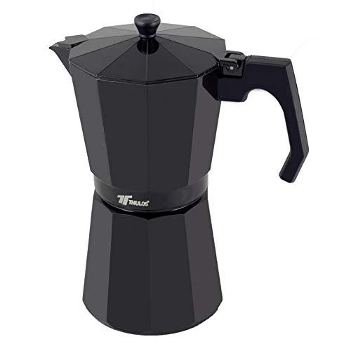 Thulos Cafetera clásica de Color Negro, Varias capacidades: 6, 9 y 12 Tazas (12 Tazas)