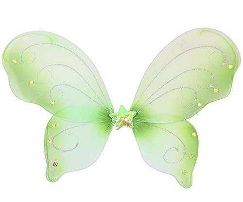 Foxxeo 35301 | grüne Schmetterlingsflügel für Mädchen | Feenflügel grün Tier Feen Flügel Fee Elfenflügel Mädchen Elfen Elf Zubehör Schmetterling Fasching Party Kostüm Mädchenkostüm Tierkostüm