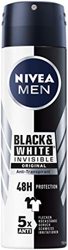 NIVEA MEN Black & White Invisible Original Deo Spray (150ml), Deo Antitranspirant mit Anti-Flecken-Formel, Deodorant mit 48h Schutz pflegt die Haut