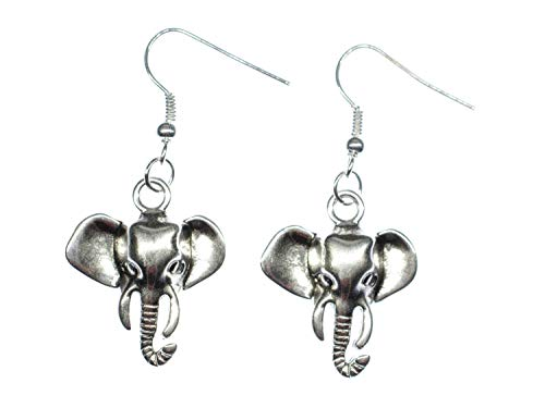 Miniblings Pendientes de cabeza de elefante, bisutería hecha a mano, diseño de elefante, elefante zootier elefante Big Five Safari, plata