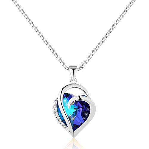IEFRICH Gifts for Mom Women Birthday, Silver Crystal Love Heart Pendant Necklace Jewelry Gifts for Women Girls Mom Girlfriend Wife Birthday Present Mothers Day Valentines Gifts for Her Anniversary