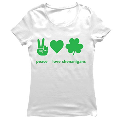 lepni.me Camiseta Mujer Paz y Amor Shenanigans Regalo para la Fiesta del Día de San Patricio en Irlanda (S Blanco Multicolor)