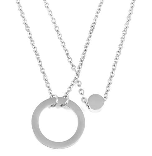 Happiness Boutique Damen Zweireihige Kette mit Kreis Anhängern in Silberfarbe | Mehrreihige Kette Runde Anhänger Edelstahlschmuck
