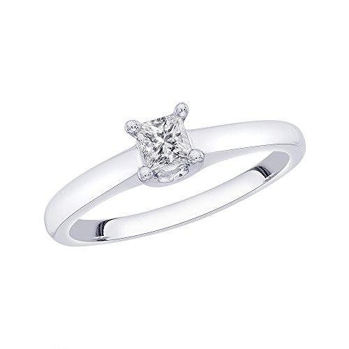 Anillo de compromiso con diamante de corte princesa en plata de ley (1/3 quilates) (color GH, claridad I2-I3)