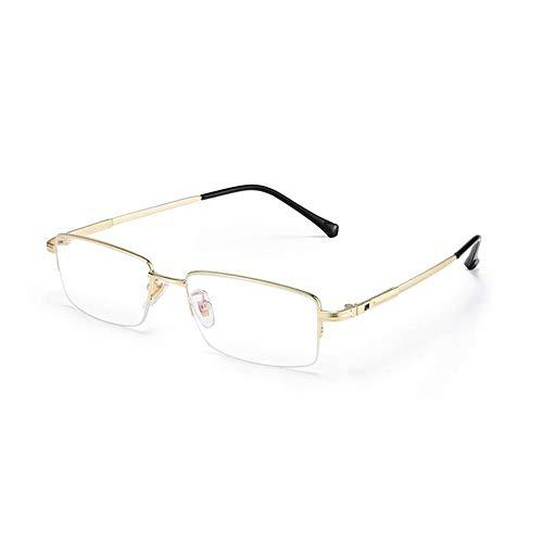 HQMGLASSES Gafas de Lectura de los Hombres Gafas de computadora de luz Anti-Azul, Marcos de Negocio de Titanio Puro Lentes de Resina HD Diopter +1.0 a +3.0,Oro,+1.5