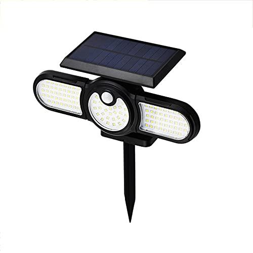 AnXiongStore Luces solares al Aire Libre Iluminación de Tres Cabezas al Aire Libre Lámpara de Suelo de césped Sensor de Movimiento PIR Foco de Paisaje Luces de jardín