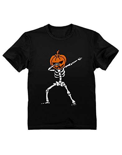 Green Turtle T-Shirts Camiseta para niños - Esqueleto con Cabeza de Calabaza - Divertido para Niños Pequeños en Halloween 12/13 Años 152cm Negro