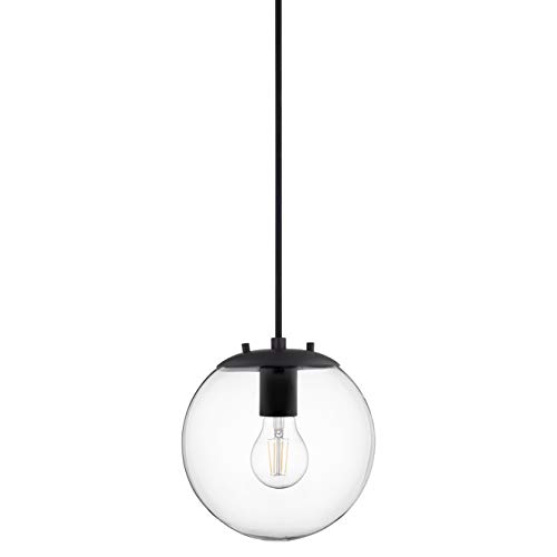 Sferra Black Globe Pendant Light Fixture - Farmhouse Pendant Lighting for Kitchen Island - Modern Hanging Lights with Large Clear Glass Globe and LED Edison Bulb Included