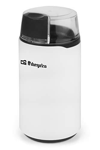 Orbegozo MO 3200 - Molinillo de café, cuchilla de acero inoxidable, interruptor ON/OFF, tapa con pulsador de seguridad, 200 W