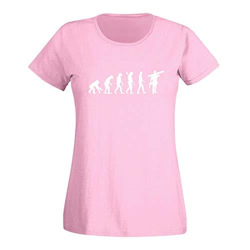 T-Shirt Evolution Handwerker Schreiner Bauarbeiter BAU 15 Farben Damen XS - 3XL Arbeitskleidung Baustelle Maloche, Größenauswahl:XL, Farbe:rosa/Light pink - Logo Weiss