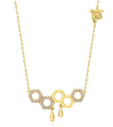 ZHANGQIAN Collar de Mujer, Collar Colgante hexágono geométrico de Diamante, Collar de clavícula de Plata esterlina 925 Colgante