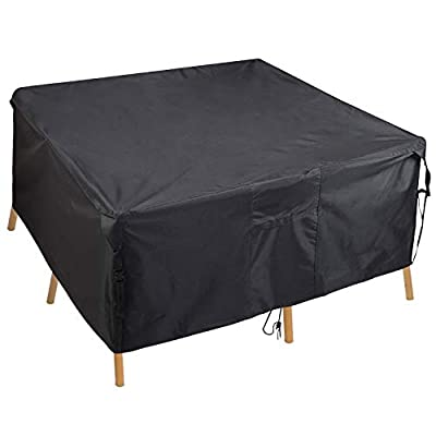 PATIOPTION Patio Table Cover, Rectangular Furniture Set Cover Outdoor Square Cover 600D Heavy Duty Tough Canvas Waterproof Dustproof Dining Table Chair Set Cover w Storage Bag - 54L x 54W x 24H inch