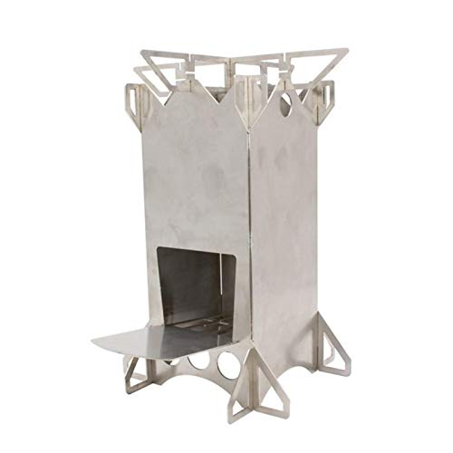 Hornillo de madera de camping de acero inoxidable plegable y portátil, estufa de leña compacta plegable para cocinar al aire libre, picnic, barbacoa