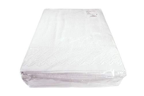 I LIKE Pack 6 uds Toalla 350 GR. Ref 3001 Color Blanco 70 x 130 Ducha 100% ALGODÓN con PUNTILLA