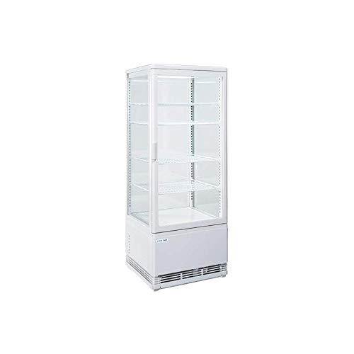 Cool Head - Vitrina refrigerada de 4 caras con cristal positivo, 98 litros, color blanco