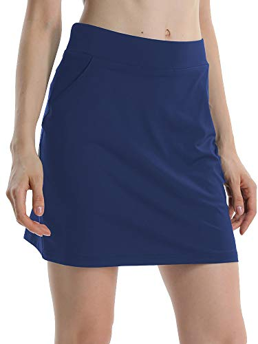 Jessie Kidden Women's Athletic Stretch Skort Tennis Skirts with Shorts and Pockets for Running Tennis Golf Workout Sports (949 Deep Blue XL)