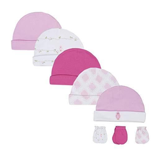 LACOFIA Conjunto de Sombreros y Manoplas para Bebé Niñas 100% Algodón Gorras y Guantes Anti-arañazos para Recién Nacido 8 PCS 0-6 Meses