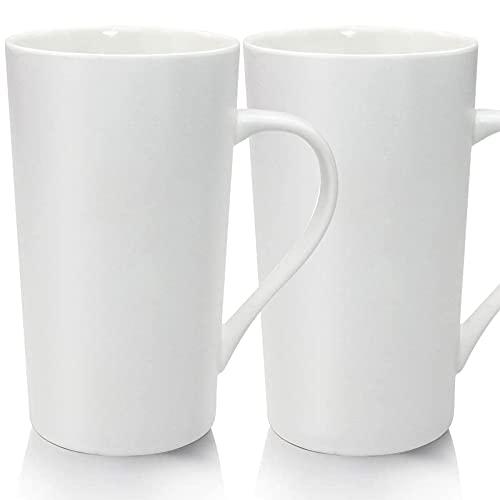YINUOWEI 20oz Porcelain Coffee Mugs Set Large Ceramic Handled Milk Mug Drinking Cups for Tea, Coffee, Cocoa, Pure White