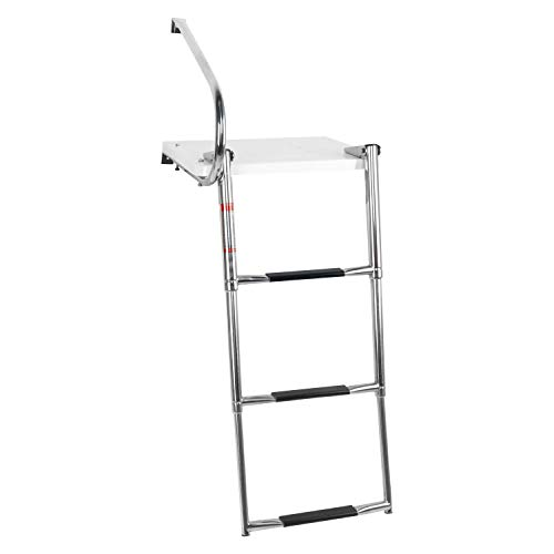 DasMarine Universal Outboard Fiberglass Swim Platform Under Mount Fold Down 3 Step 316 Stainless Steel Ladder with One Handrails(Mounting Screws are Included)