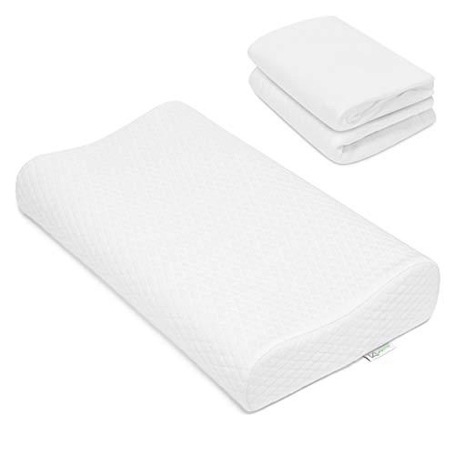 KEINerlei Almohada con 2 fundas, almohada ortopédica HWS cervical de espuma viscoelástica de gel para dormir de espalda y de lado, 60 x 35 cm