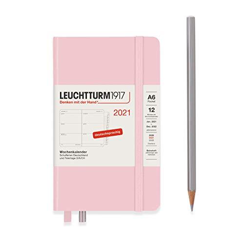 LEUCHTTURM1917 Wochenkalender 2021 Hardcover Pocket (A6), 12 Monate, Puder, Deutsch