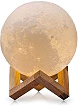 T TOPLINE 3D Portable Touch Sensor Changing 7Color Moon Night Lamp with Wooden Stand Table lamp with USB Rechargeable Crystal Ball 15cm