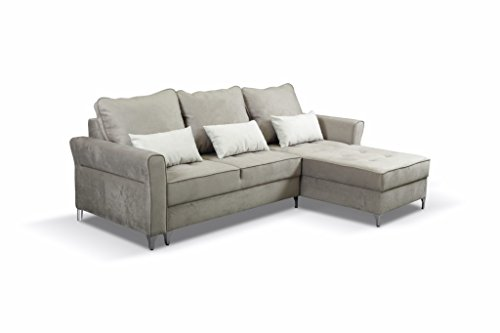 Ecksofa Eckcouch mit Bettkasten Sofa Couch L-Form Polsterecke TIMOR (Beige, Ecksofa Rechts)
