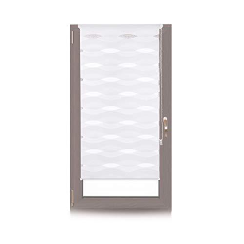 relaxdays Estor Noche y Día Ondas, Sin Taladrar, Doble con Cadena, Poliéster-Aluminio, 60 x 150 cm, Blanco