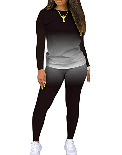 JSVZREU Plus Size Outfits for Women Two Piece Pants Outfits Tie Dye Loungewear Tracksuit Set 2 Piece(longblack,2XL)