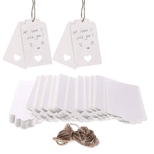 VORCOOL 100 Stück Geschenk Anhänger Papieranhänger Hängeetiketten Anhängeetiketten mit Faden