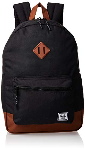 Herschel Supply Co. Heritage Youth Xl Mochila para niños, Heritage Youth XL., Negro/Sillín café, Una talla