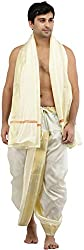 Exotic India Dhoti and Angavastram Set with Wide Golden Border (Ready to Wear)