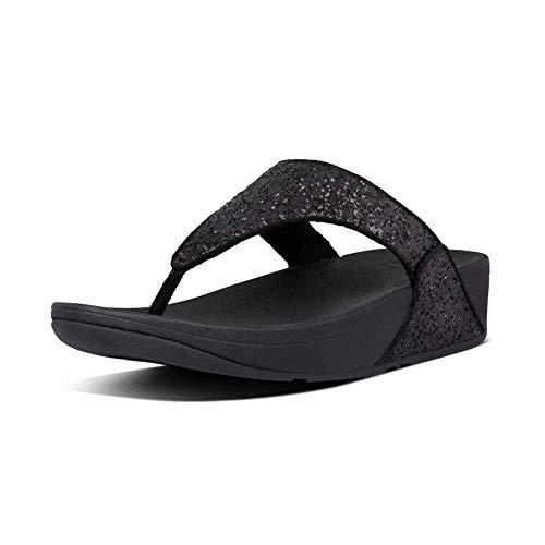 FitFlop Lulu Toe-Thongs, Sandalias de Punta Descubierta Mujer, Black (Black Glitter 339), 38 EU