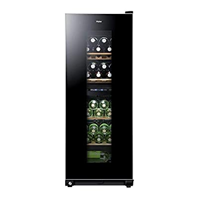 Haier WS46GDBE 46 Bottle Dual Zone Wine Cooler - Black Glass Door