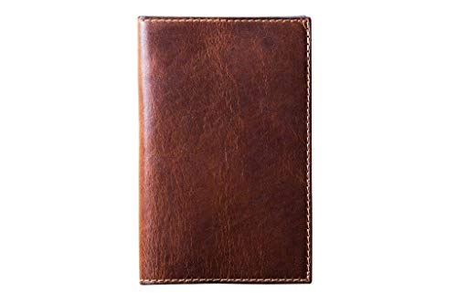 "Leather Journal Cover for Moleskine Cahier Notebook Chestnut Color Pocket size 3.5"" x 5.5"" Field Notes Cover Vintage Refillable Notepad Handmade in USA"