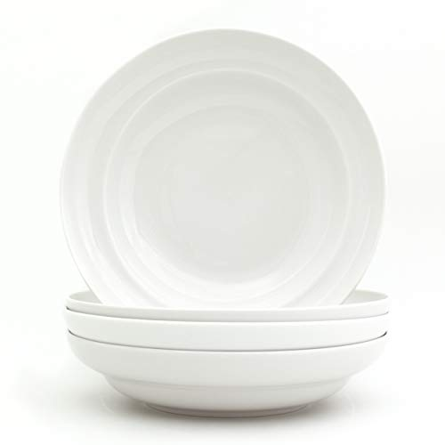 Euro Ceramica White Essential Chip Resistant Collection Dinnerware and Serveware, Pasta Bowls Set of 4, Classic