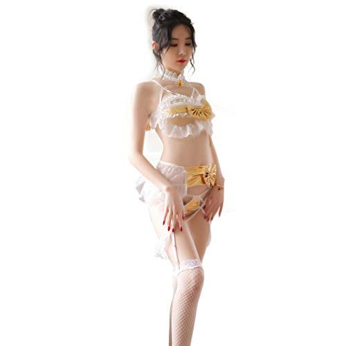 Damen Sexy Bandage Neckholder Dessous Strap Anime Lolita Cosplay Spitze Bodysuit - Gelb - Einheitsgröße