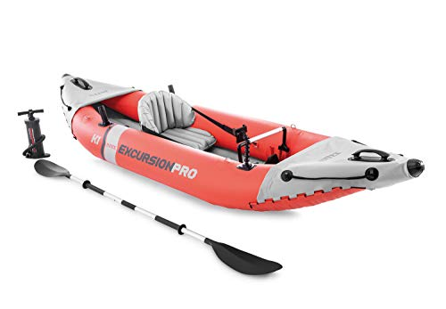 Intex 68303EP Excursion Pro Single Person Inflatable Vinyl Fishing Kayak Set