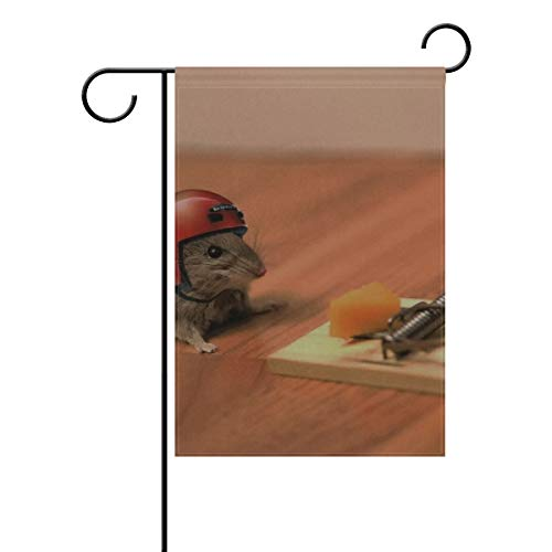 DongGan Garden Flag Mouse Cheese Mouse Trap Helmet Funny Situation 12x18 Inches(Without Flagpole)
