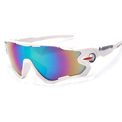 FHNLKFS Gafas de ciclismo deportivas, gafas de sol para hombre y mujer, para exteriores, gafas de sol anti-UV, gafas cortavientos, deportivas blancas
