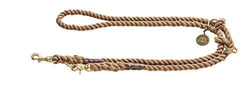 HUNTER LIST Verstellbare Führleine, Seil, Messing-Karabiner, maritim, 1, 0 x 200 cm, beige